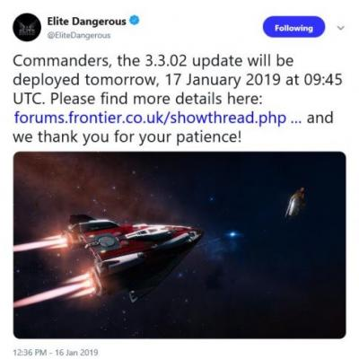 Frontier issuing Patch 3.3.02 for Elite Dangerous tomorrow