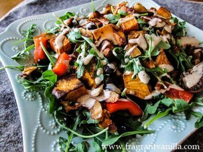 Roasted Yam, Coconut Bacon and Black Bean Salad with Miso Almond Dressing