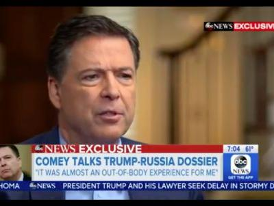 "Comey tells ABC he intentionally withheld info from Trump that bogus ""Steele dossier"" was paid for by Hillary, DNC"