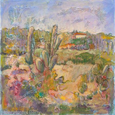 """Contemporary Abstract Mixed Media Landscape Fine Art Painting """"Where's the Oak Tree"""" by Passionate Purposeful Painter Holly Hunter Berry"""