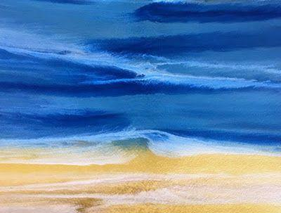 "Contemporary Seascape,Abstract Beach Art, ""Beach Dreams-Azurean and Gold IV"" by Colorado Contemporary Landscape Artist Kimberly Conrad"