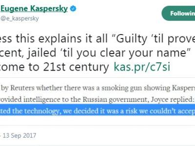 Who said the Cold War was over? Kaspersky security software removed by US government
