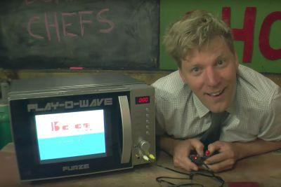 YouTube star Colin Furze turned a microwave into a video game console