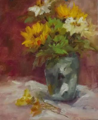 "Impressionist Still Life Floral Oil Painting,""Green Floral"" by Colorado Contemporary Fine Artist Jody Ahrens"