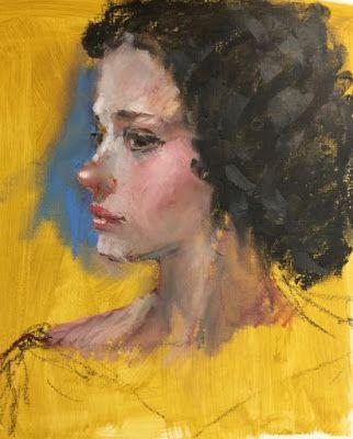 Her Suspicious Look - original oil pastel portrait drawing