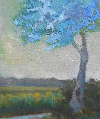 """Small Tree Landscape, """"Feeling Blue, Daily Painting, 6x8"""" Original Oil Artwork"""