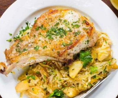 Skillet Pork Chops with Cabbage