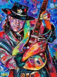 "Stevie Ray Vaughan Art Painting Guitar Art ""Hat and Guitar"" by Debra Hurd"