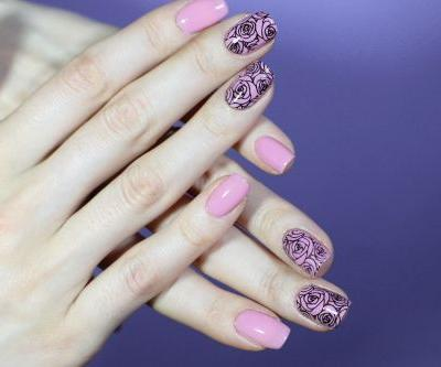 Trying Nail Stamping For The First Time | Black Roses On Pink Manicure