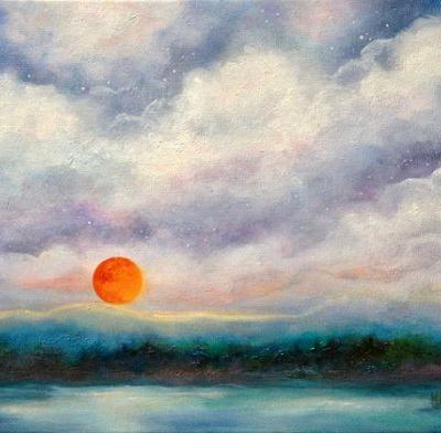 MOONRISE-Original Landscape Oil Painting With Moon by Marina Petro