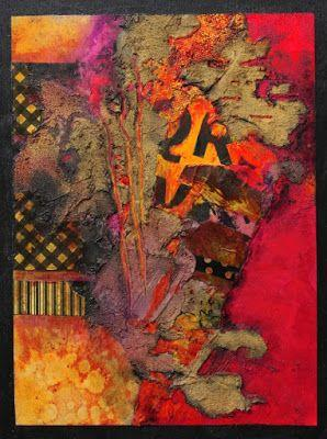 """Mixed Media Abstract Collage Painting, """"Summer in the City"""" by Carol Nelson Fine Art"""