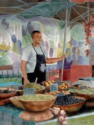 Watercolor Portrait of an Olive Vendor in Provence