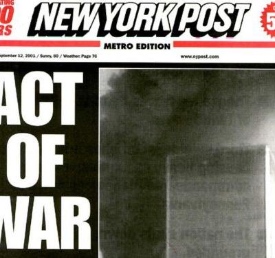 'AMERICA'S DARKEST DAY' See newspaper headlines from around the world 24 hours after 9/11