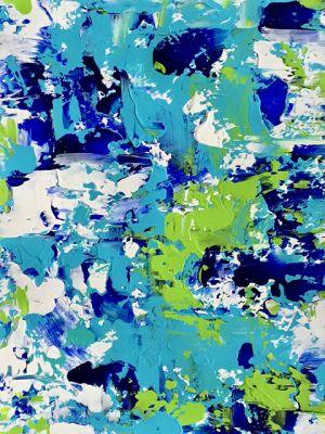 "Abstract Expressionist Palette Knife Art Painting ""Bladeworks 153-Coastal Abstract"" by International Abstract Artist Kimberly Conrad"