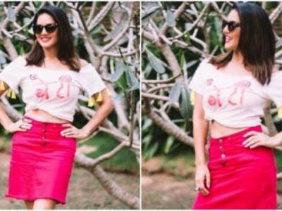 Sunny Leone in Rs 6k embroidered top and neon-pink skirt shows her quirky side. New pics