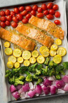 Sheet Pan Honey Mustard Salmon and Rainbow Veggies