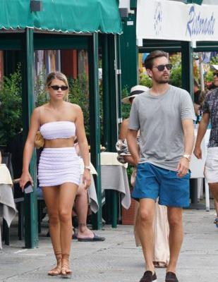 Sofia Richie Sizzles in a White Miniskirt and Matching Crop Top While Strolling With Scott Disick in Italy