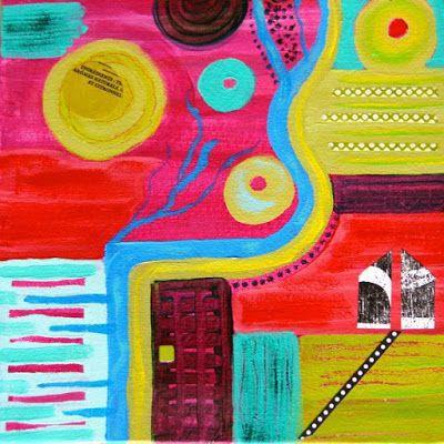 """Colorful Abstract Landscape Art Painting """"Garden Plan III"""" by Santa Fe Contemporary Artist Melanie Birk"""