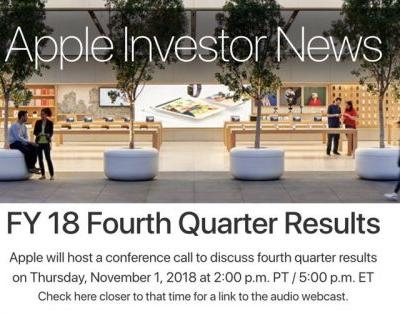 Apple to Announce Q4 2018 Earnings on November 1