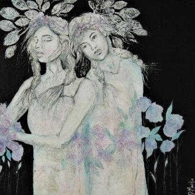 """Sisters"", Original Mixed Media Painting by Colorado Artist, Donna L. Martin"