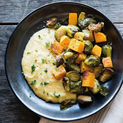 Cheesy Polenta with Roasted Vegetables