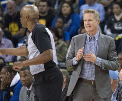 Steve Kerr waves goodbye to refs after being ejected from Warriors preseason game