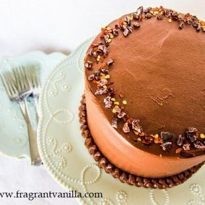 Vegan Mexican Dark Chocolate Layer Cake