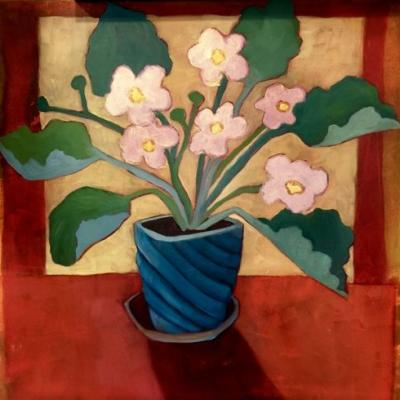 "Contemporary Abstract Bold Expressive Still Life Flower Art Painting, ""Little Pink Violets"" by Santa Fe Artist Annie O'Brien Gonzales"