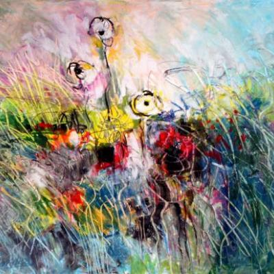 Fantasy Flowers Nine, abstract painting by Carol Engles