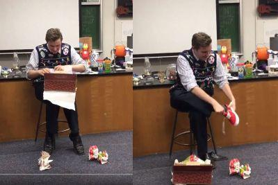 This class pitched in to buy their teacher a pair of Vans for Christmas and his reaction is everything