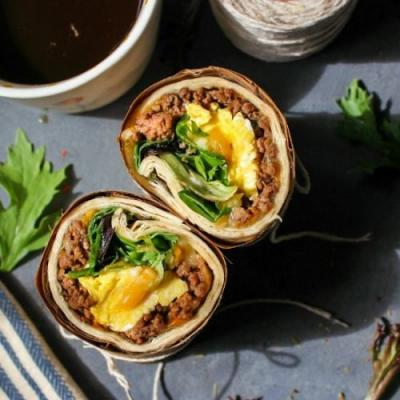 Breakfast Eggs & Beef Wrap