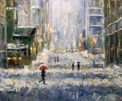 "Street Scene Cityscape Snow Storm, Fine Art Oil Painting ""Winter"" by Texas Artist Debra Hurd"
