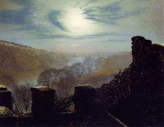 John Atkinson Grimshaw, Full Moon behind Cirrus Cloud from the Rounday Park Castle Battlements