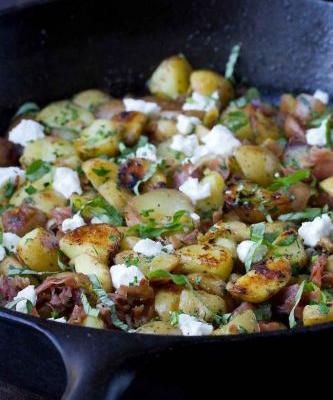 Healthy Potato Hash with Prosciutto & Goat Cheese