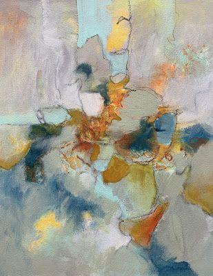 "Abstract Painting, Mixed Media, Expressionism,Contemporary Art, ""Bird on a Wire"" by Contemporary Artist Liz Thoresen"
