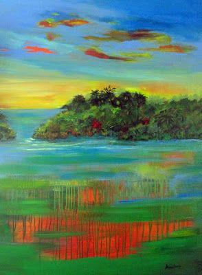 "Original Contemporary Abstract Seascape Painting ""Sultry Sunset"" by International Abstract Realism Artist Arrachme"