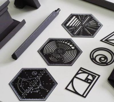 Unique Hexagonal ruler is a protractor, polygon creators, spirograph and more