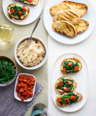 White bean bruschetta with garlicky greens