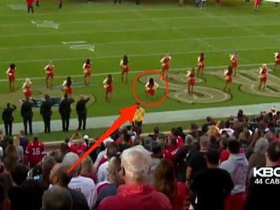 A San Francisco 49ers cheerleader just became the first NFL cheerleader to kneel during the national anthem
