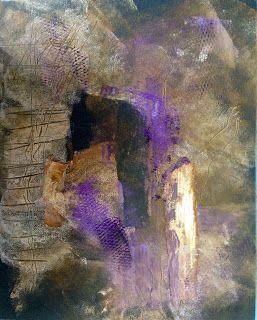 "Oil and Cold Wax mixed media abstract "" PURPLE 1"" BY Sally Fraser"