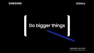 The Note 8 makes a brief appearance on Samsung's website