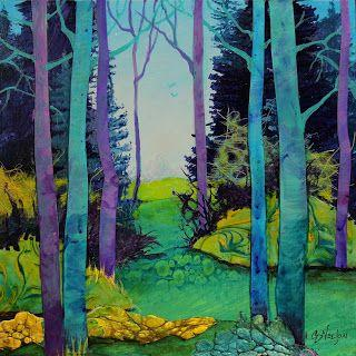 """Mixed media collage landscape painting, """"Walking in the Woods"""" © Carol Nelson Fine Art"""