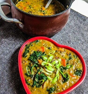 Creamy Thai Red Curry Lentil Vegetable Soup