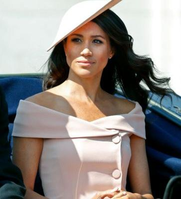 Meghan Markle Took In Her Very First Trooping The Colour In An Off-The-Shoulder Pale Pink Carolina Herrera