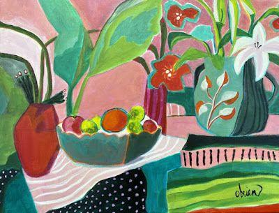 """Contemporary Abstract Bold Expressive Still Life Flower Art Painting, """"June Table"""" by Santa Fe Artist Annie O'Brien Gonzales"""
