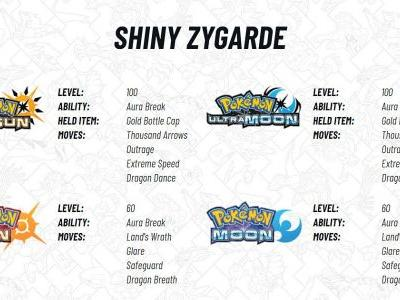 Legendary Pokemon Shiny Zygarde will available for Pokemon Sun and Moon June 1