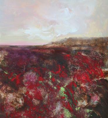 Red Field, Three, abstract landscape by Carol Engles
