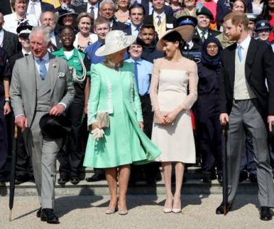 Newlyweds Harry and Meghan step into the sunshine at first royal event since their wedding