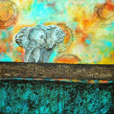 """""""The Road Less Traveled"""", Original Mixed Media Painting by Colorado Artist, Donna L. Martin"""