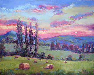 French Countryside at Sunset, New Contemporary Landscape Painting by Sheri Jones
